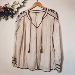 Sundance | Cream + Brown Flowy Boho Top w/Tassels